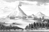 An illustration from Stepan Krasheninnikov's Account of the Land of Kamchatka (1755). The Kamchatka Peninsula is a 1,250-kilometer long peninsula in the Russian Far East, with an area of 472,300 km2 (182,400 sq mi). It lies between the Pacific Ocean to the east and the Sea of Okhotsk to the west. Immediately offshore along the Pacific coast of the peninsula runs the 10,500-metre (34,400 ft) deep Kuril-Kamchatka Trench.